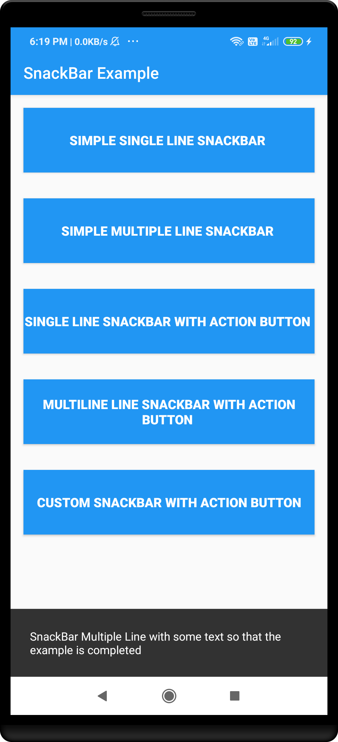 Android multi line snackbar example