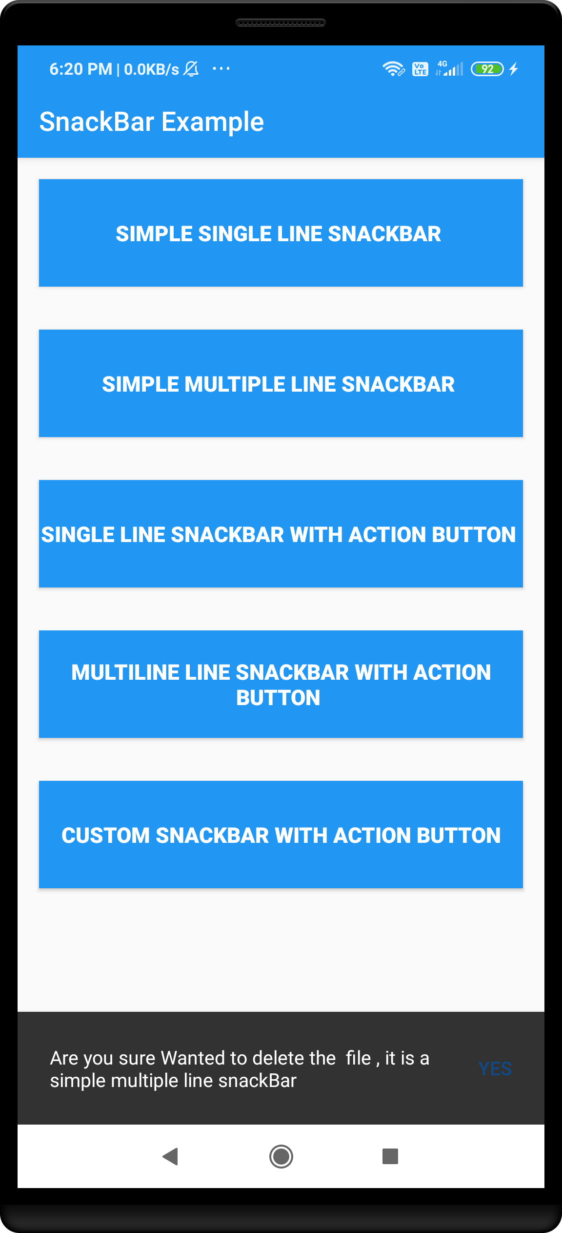 Android multi line snackbar with action button example