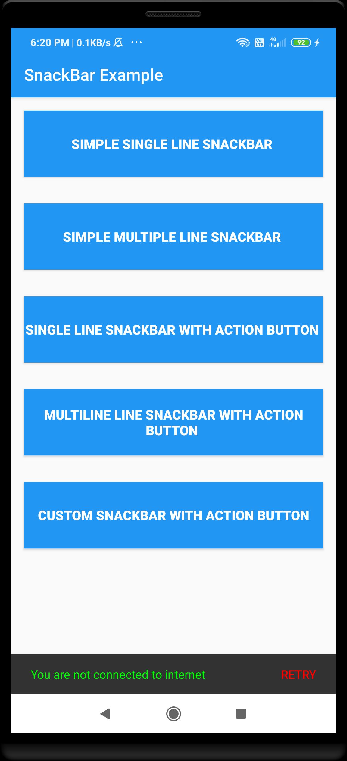 Android custom snackbar example
