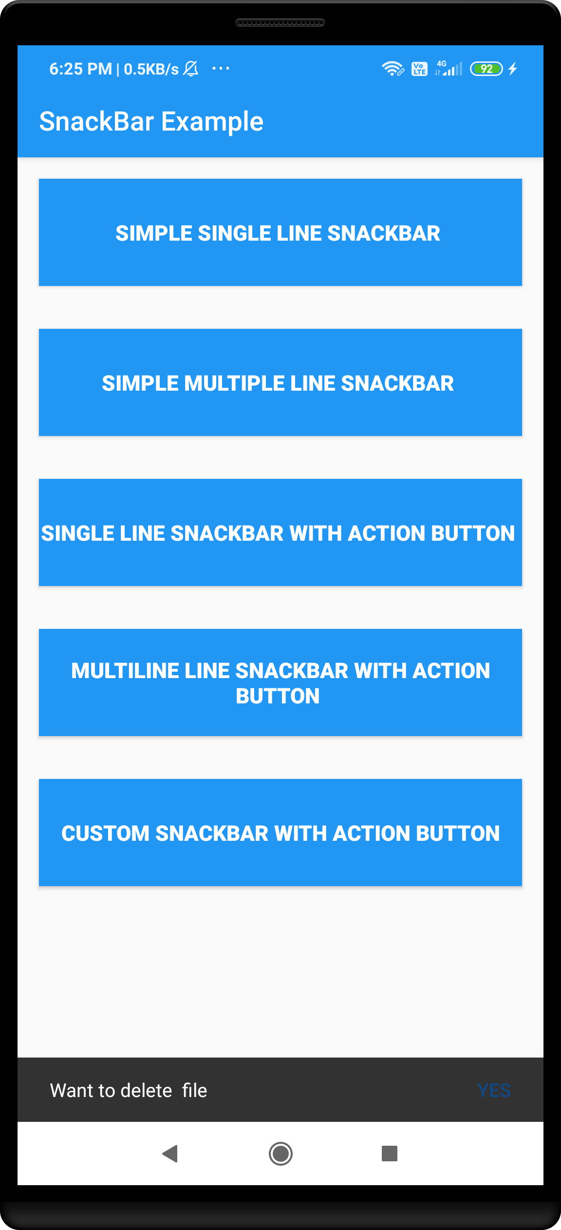 Android single line snackbar with action button example