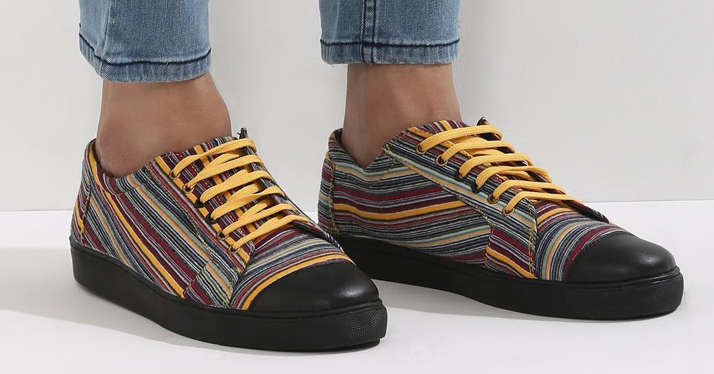 striped yellow sneakers