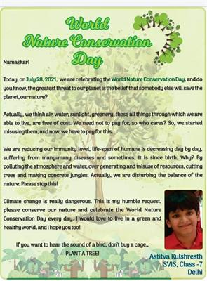 Astitva Kulshreshth of Class 7D got his article on World Nature Day published on Kids Age