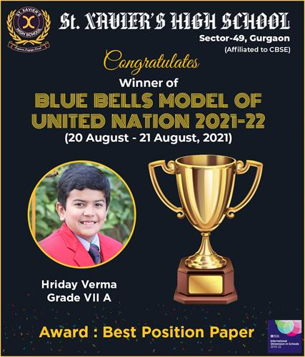We are pleased to share the exciting news of our shining star who has brought laurels to the school by excelling at the Blue Bells Model of United Nation 2021-22