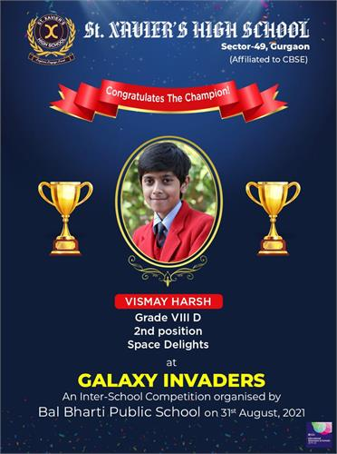We are ecstatic to share the result of an Inter-School Competition GALAXY INVADERS organised by Bal Bharti Public School on 31st August, 2021