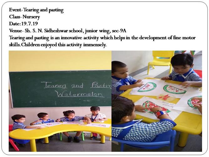Tearing and pasting(class - nursery)