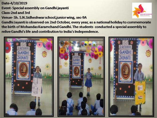 Special assembly on Gandhi jayanti
