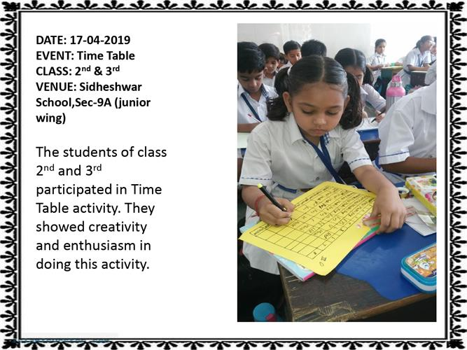 TIME TABLE  ACTIVITY