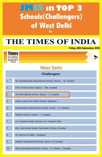 JMIS in TOP 3 Schools(Challengers) of West Delhi by THE TIMES OF INDIA  SURVEY 2018