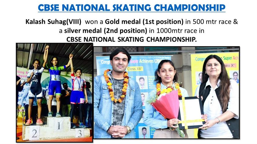 won a Gold medal and  a silver medal in CBSE NATIONAL SKATING CHAMPIONSHIP.