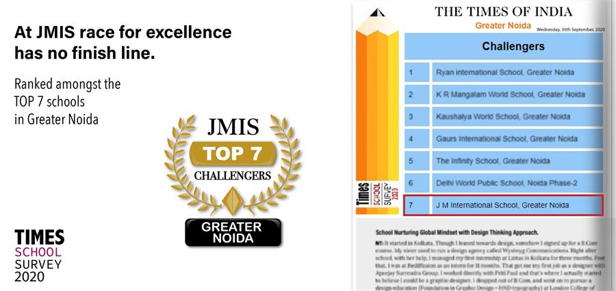 Ranked amongst the TOP 7 Schools of Greater Noida by Times of India