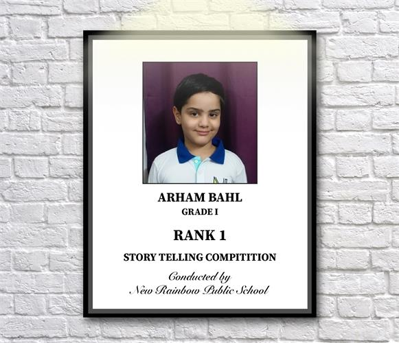 Arham Bahal of Grade-1 Chinar bagged 1st  prize in Story Telling Competition