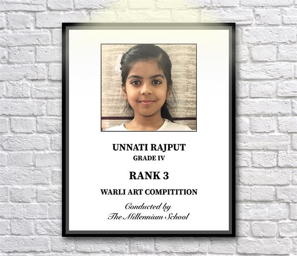Unnati Rajput of Grade IV bagged 3rd  prize in Warli Art Competition
