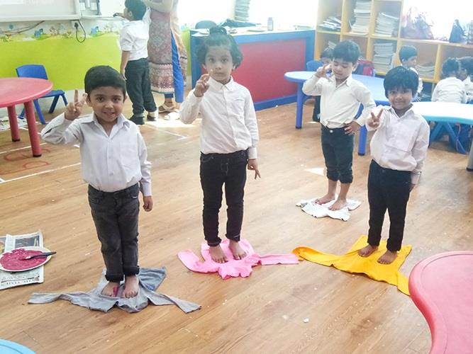 T-Shirt printing by Pre-primary graders