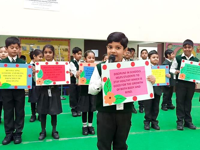 Public Speaking session on Discipline by grade 1 students
