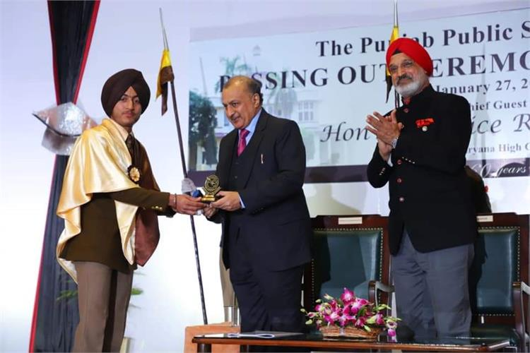 Hon'ble Justice Rajan Gupta(B-267 )an Old Nabhaite, presides over the Passing Out Ceremony ISC-2020