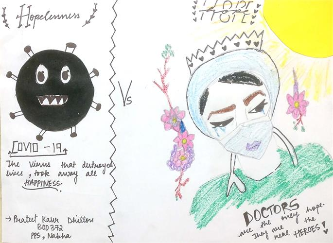 Paintings / Doodles / Sketches made by PPS Round Square Society for Online Art Competitions