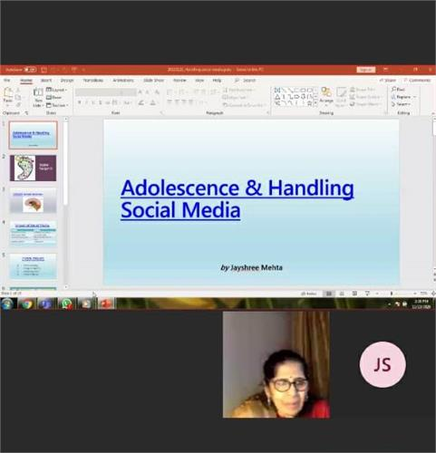VIRTUAL  WORKSHOP ON ADOLESCENCE AND SOCIAL MEDIA ISSUES