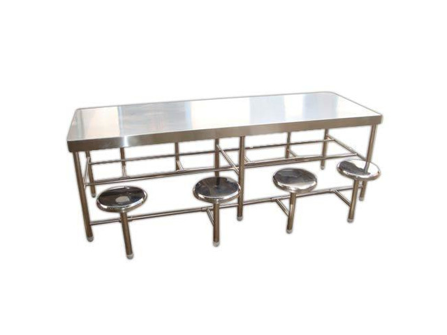 Stainless steel dining table with chair -8 seater - 1/2