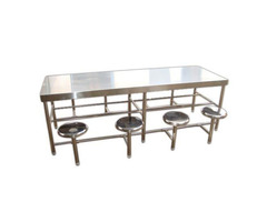 Stainless steel dining table with chair -8 seater - Image 1/2