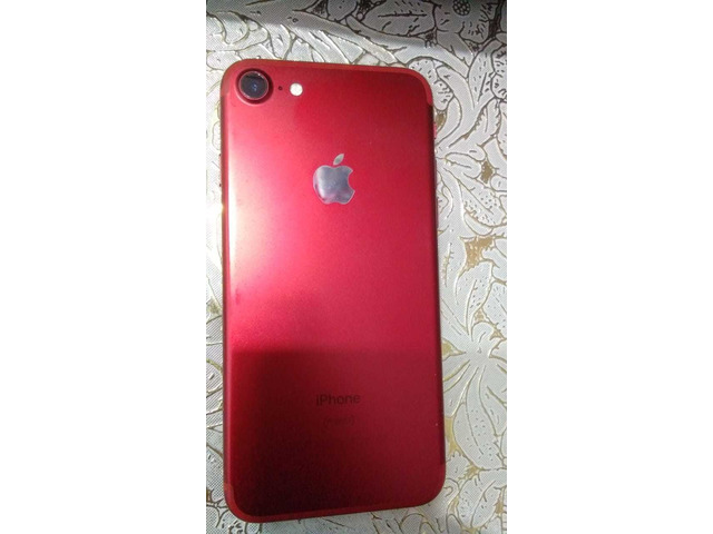 IPHONE 7, RED/WHITE, 128GB, SCRATCHLESS, WITH CHARGER AND BOX - 1/5