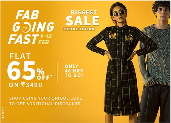 FAB GOING FAST 9-12 FEB || FLAT 65% OFF ON Rs.3490