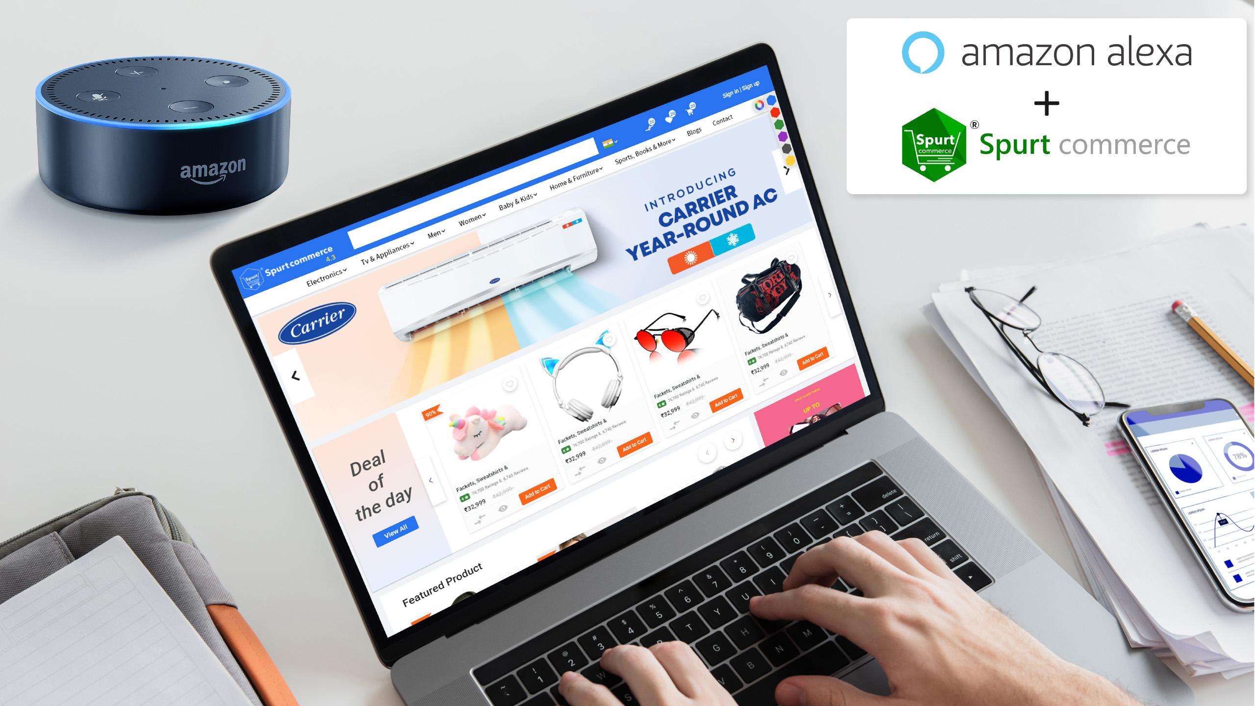 Alexa skill development, voice commerce, Alexa voice assistant, voice e-commerce, alexa skill ecommerce, spurtcommerce alexa skill ecommerce, spurtcommerce alexa skill solution.