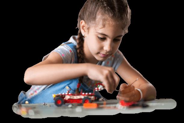 Girl building robots in Playto Online Robotics Classes for kids