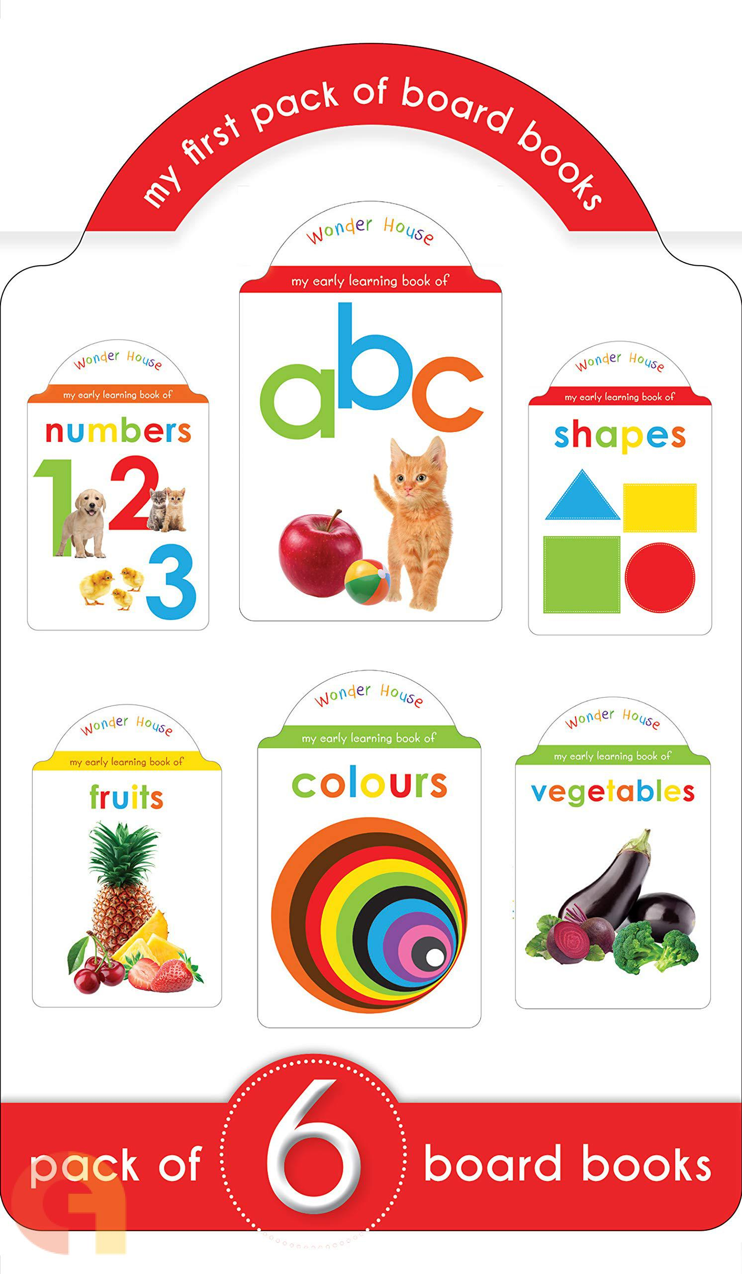 My First Pack Of Board Books : ABC, Numbers, Shapes, Colours, Fruits and Vegetables