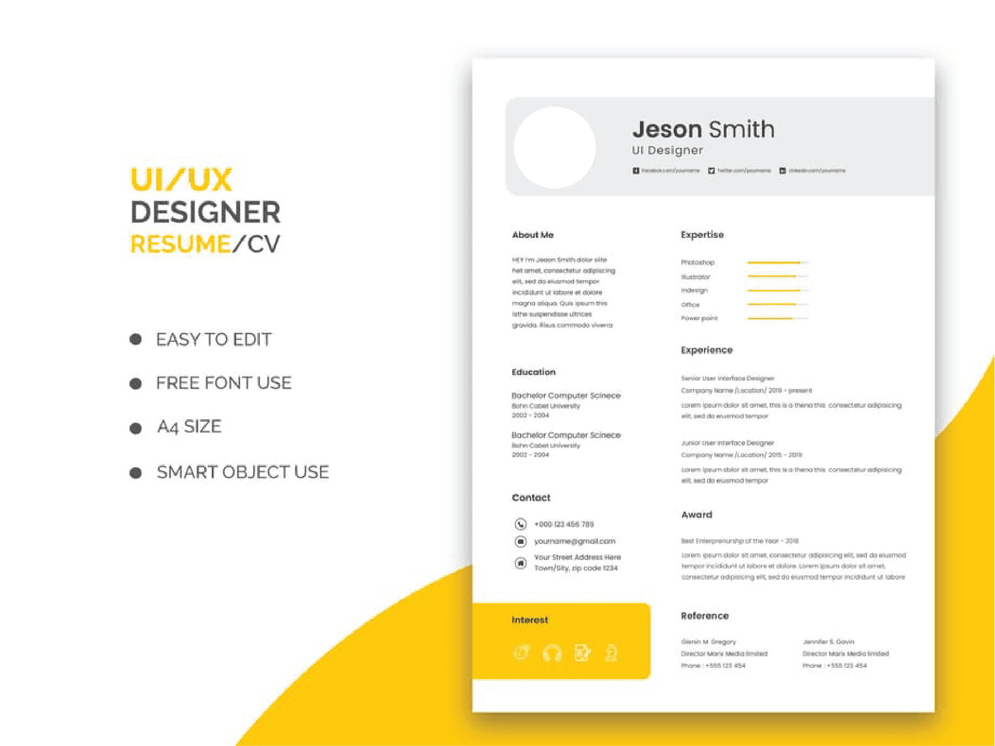 An effective resume has a clear section for experience, skills, contact and reference information.
