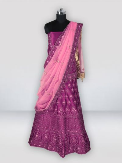 Embroidered Net Lehenga Style Embellished Saree - MGC0228321