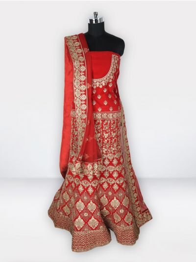 Embroidered Net Lehenga Style Embellished Saree-MGC0438167