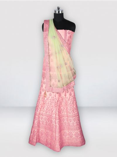 Semi-Stitched Lehenga & Blouse with Dupatta-MGC0439076