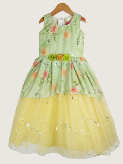 Girls Fancy Netted Long Frock- 20 (3-Years) - MJA6912298