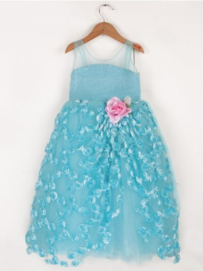 Girls Fancy Netted Long Frock- 20 (3-Years) - MBB5480810