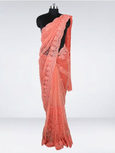 Kyathi Exclusive Aari Work & Scallop Border Designer Saree - MHD2556730