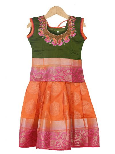 Girls Ready Made Art Silk Pavadai Set - GPP5013