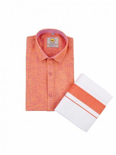 KKV Cotton Shirt and Fancy Border Dhoti Set - NKA2135576