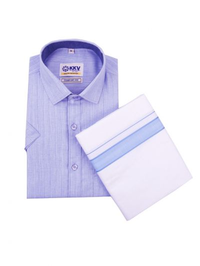 KKV Cotton Shirt and Fancy Border Dhoti Set - OEA4704492