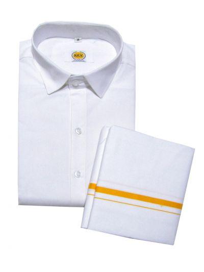 KKV Cotton Shirt and Fancy Border Dhoti Set - NHA3685736