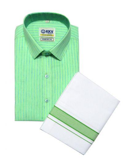KKV Cotton Shirt and Fancy Border Dhoti Set - OFA7836276
