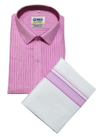 KKV Cotton Shirt and Fancy Border Dhoti Set - OFA7836345