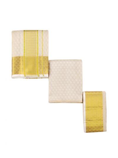 Vivaha Traditional Pure Silk Dhoti Shirt Material and Angavastram Set - OEA4606920
