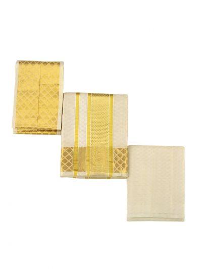 Vivaha Traditional Pure Silk Dhoti Shirt Material and Angavastram Set - OEA4606921