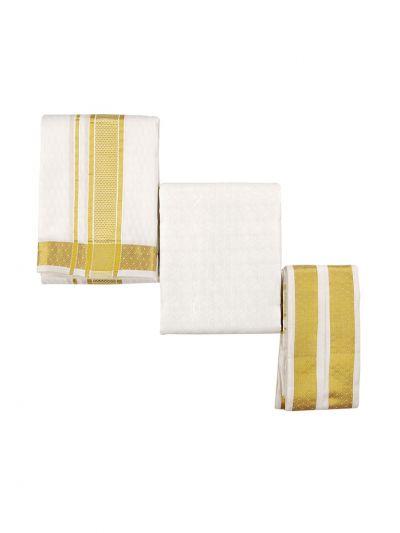 Vivaha Traditional Pure Silk Dhoti Shirt Material and Angavastram Set - OEA4606926