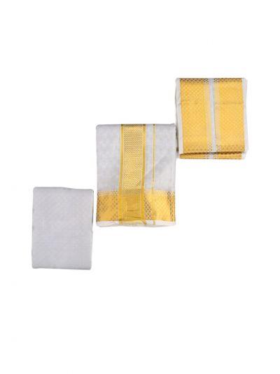 Vivaha Traditional Pure Silk Dhoti Shirt Material and Angavastram Set - NKB2798926
