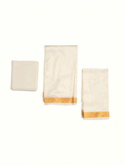 Vivaha Traditional Silk Mix Dhoti Shirt Material and Angavastram Set - NHA4298106