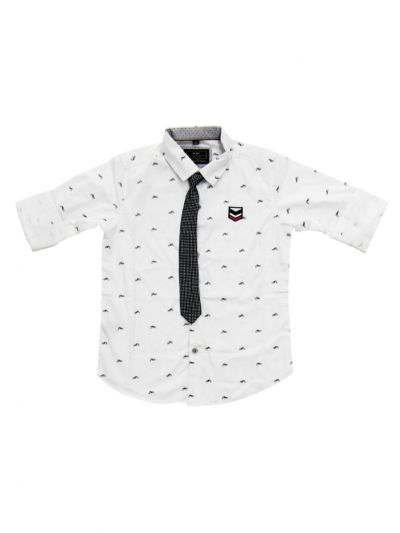 Boys Branded Shirt With Tie (MDU) - NGB9022761