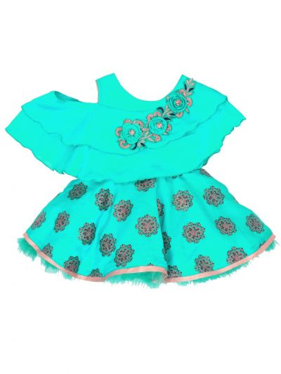 Girls Printed Design Synthetic Fancy Frock - MFB1919798 Size-14(6 to 9 months)