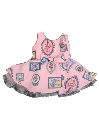 Infant Girls Printed Design Synthetic Fancy Frock - MJA7045812 Size-14(6 to 9 months)