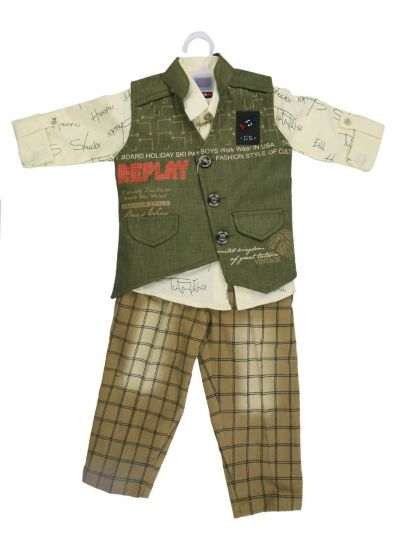 Boy Casual Coat With Shirt, Waistcoat And Pant Set-MJB7322148 Size 16 - (1 Year)